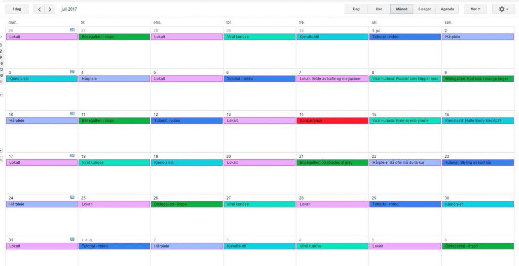 Skjermdump av Google Calendar med publiseringsplan.